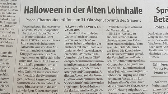Knepper Management - Presse - Stadtspiegel Wattenscheid - Halloween in der Alten Lohnhalle
